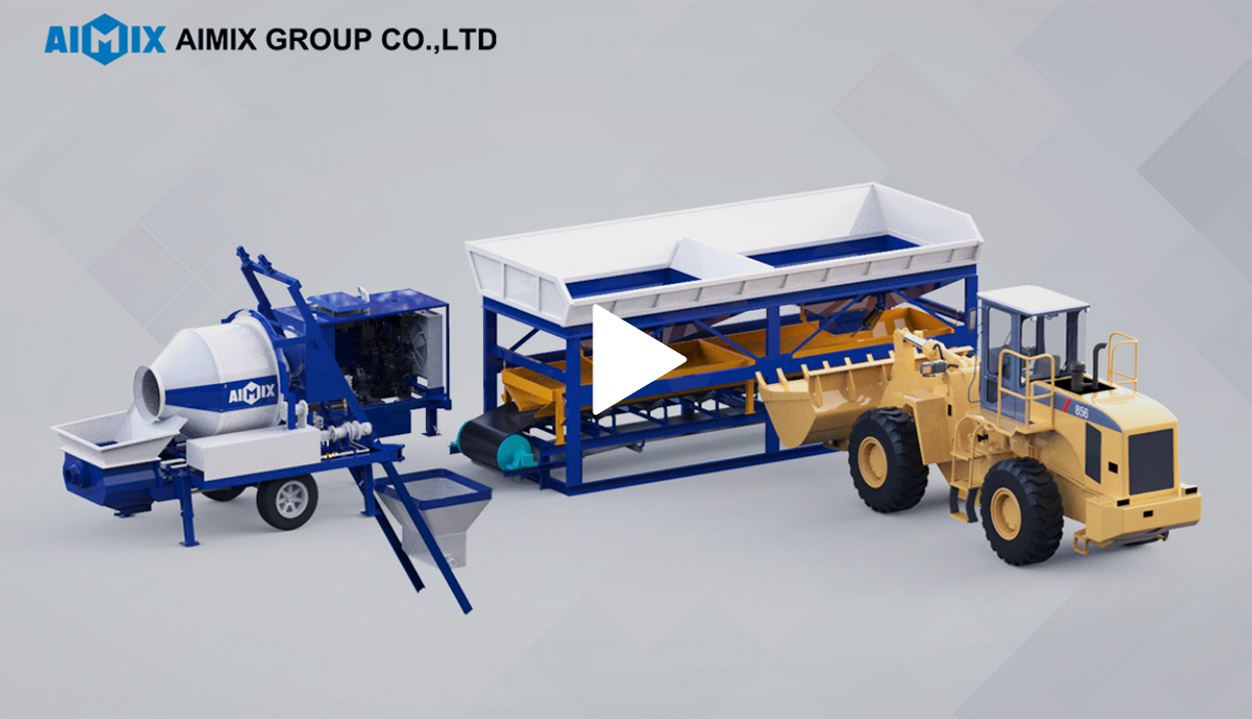 Concrete Mixer Pump Working With Aggregate Batching Machine And Wheel Loader