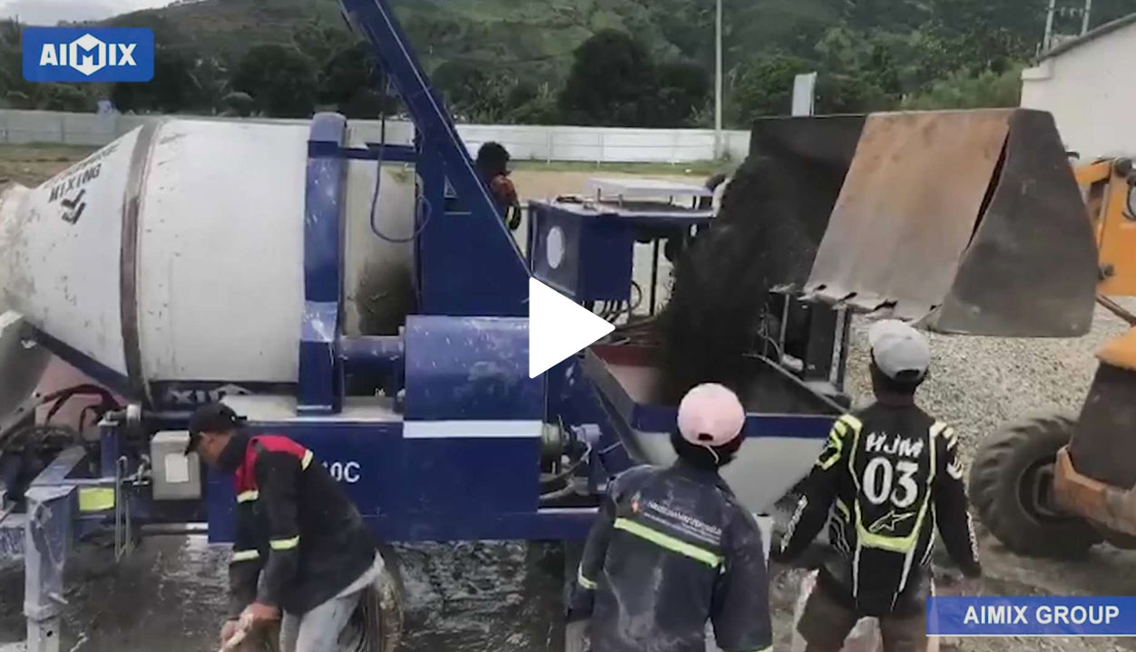 ABJZ40C Diesel Concrete Mixer Pump Testing On Construction Site In East Timor